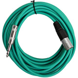 SATRXL-M25 - 6 Pack of Multiple Colors 25 Foot XLR Male to TRS Patch Cables