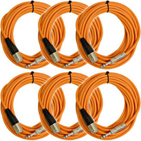 SATRXL-M25 - 6 Pack of Orange 25 Foot XLR Male to TRS Patch Cables