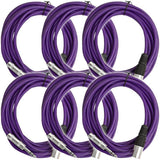 SATRXL-M25 - 6 Pack of Purple 25 Foot XLR Male to TRS Patch Cables