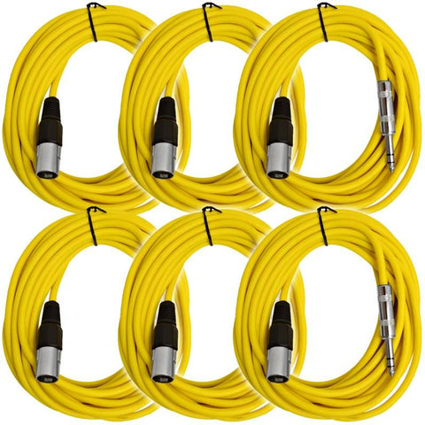 SATRXL-M25 - 6 Pack of Yellow 25 Foot XLR Male to TRS Patch Cables