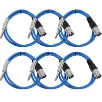 SATRXL-M2 - 6 Pack of Blue 2' XLR Male to TRS Patch Cables