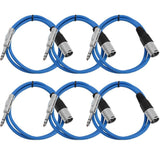 SATRXL-M3 - 6 Pack of Blue 3' XLR Male to TRS Patch Cables