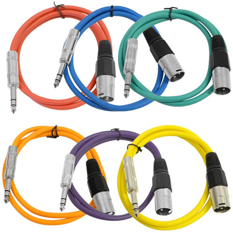 SATRXL-M3 - 6 Pack of Multiple Colors 3' XLR Male to TRS Patch Cables