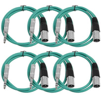 SATRXL-M3 - 6 Pack of Green 3' XLR Male to TRS Patch Cables