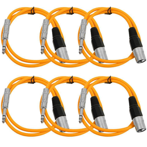 SATRXL-M3 - 6 Pack of Orange 3' XLR Male to TRS Patch Cables