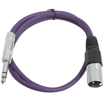 SATRXL-M3 - Purple 3' XLR Male to TRS Patch Cable