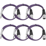 SATRXL-M2 - 6 Pack of Purple 2' XLR Male to TRS Patch Cables