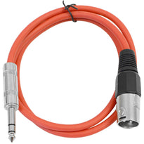 SATRXL-M3 - Red 3' XLR Male to TRS Patch Cable