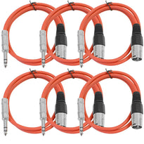 SATRXL-M3 - 6 Pack of Red 3' XLR Male to TRS Patch Cables
