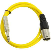 SATRXL-M3 - Yellow 3' XLR Male to TRS Patch Cable