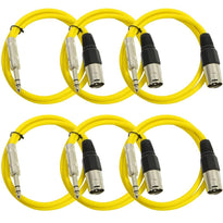 SATRXL-M2 - 6 Pack of Yellow 2' XLR Male to TRS Patch Cables