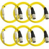 SATRXL-M3 - 6 Pack of Yellow 3' XLR Male to TRS Patch Cables