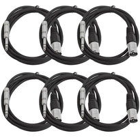 SATRXL-M6 - 6 Pack of Black 6 Foot XLR Male to TRS Patch Cables