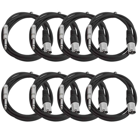 SATRXL-M6 - 8 Pack of Black 6 Foot XLR Male to TRS Patch Cables