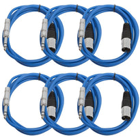 SATRXL-M6 - 6 Pack of Blue 6 Foot XLR Male to TRS Patch Cables
