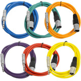 SATRXL-M6 - 6 Pack of Multiple Colors 6 Foot XLR Male to TRS Patch Cables