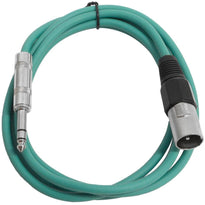 SATRXL-M6 - Green 6 Foot XLR Male to TRS Patch Cable
