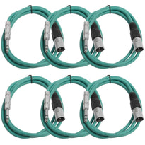 SATRXL-M6 - 6 Pack of Green 6 Foot XLR Male to TRS Patch Cables