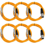 SATRXL-M6 - 6 Pack of Orange 6 Foot XLR Male to TRS Patch Cables