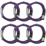 SATRXL-M6 - 6 Pack of Purple 6 Foot XLR Male to TRS Patch Cables