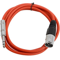 SATRXL-M6 - Red 6 Foot XLR Male to TRS Patch Cable