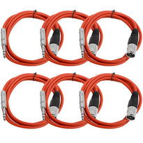 SATRXL-M6 - 6 Pack of Red 6 Foot XLR Male to TRS Patch Cables