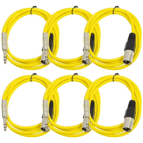 SATRXL-M6 - 6 Pack of Yellow 6 Foot XLR Male to TRS Patch Cables