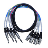 SATXSW-4x5 - 5 Foot Send and Return Snake Cable - 4 TRS to 2 XLR Male and 2 XLR Female