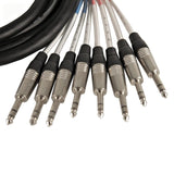 SATXSW-8x10 - 10 Foot Send and Return Snake Cable - 8 TRS to 4 XLR Male and 4 XLR Female