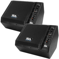 SAX-10M-PW - Pair of Powered Compact 10 Inch 2 Way Coaxial Floor / Stage Monitors with Titanium Horns