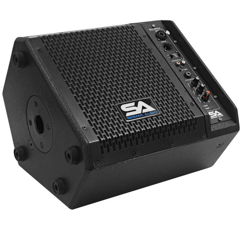 SAX-8M-PW - Powered Compact 8 Inch 2 Way Coaxial Floor / Stage Monitor with Titanium Horn