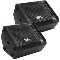 SAX-8M-PW - Pair of Powered Compact 8 Inch 2 Way Coaxial Floor / Stage Monitors with Titanium Horns