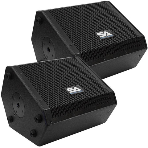 SAX-10M - Pair of Compact 10 Inch 2 Way Coaxial Floor / Stage Monitors with Titanium Horns