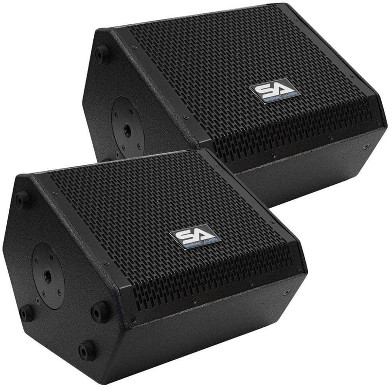 Deal - SAX-10M - Pair of Compact 10 Inch 2 Way Coaxial Floor / Stage Monitors with Titanium Horns