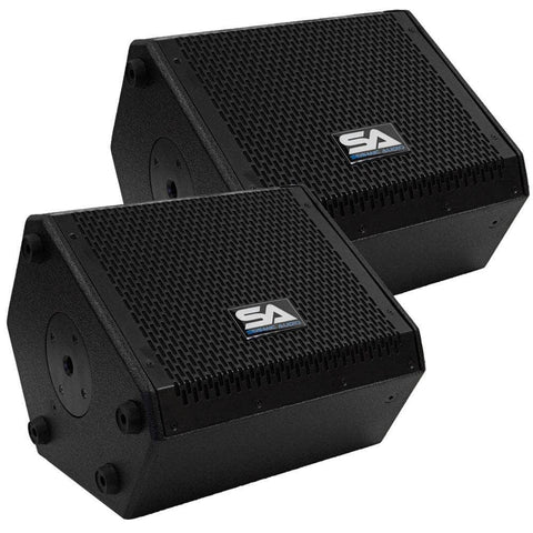 SAX-8M - Pair of Compact 8 Inch 2 Way Coaxial Floor / Stage Monitors with Titanium Horns