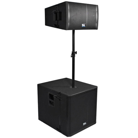 Powered 18 Inch Line Array Subwoofer, Powered 12 Inch Line Array Speaker and Mounting Pole