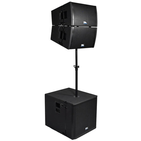 Powered 18 Inch Line Array Subwoofer, Two Powered 12 Inch Line Array Speakers and Mounting Pole
