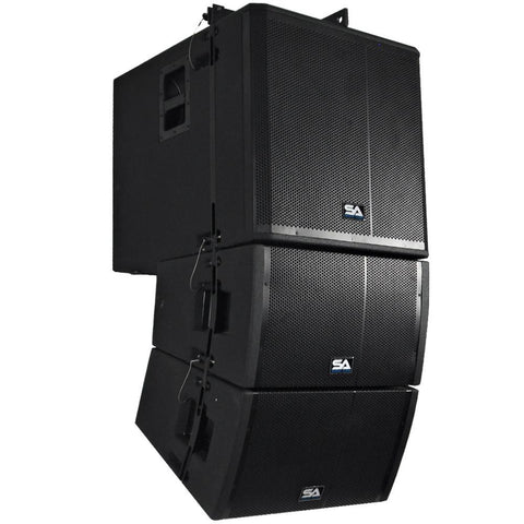 Powered Line Array System - 18 Inch Subwoofer, Two 12 Inch Line Array Speakers and Mounting Frame