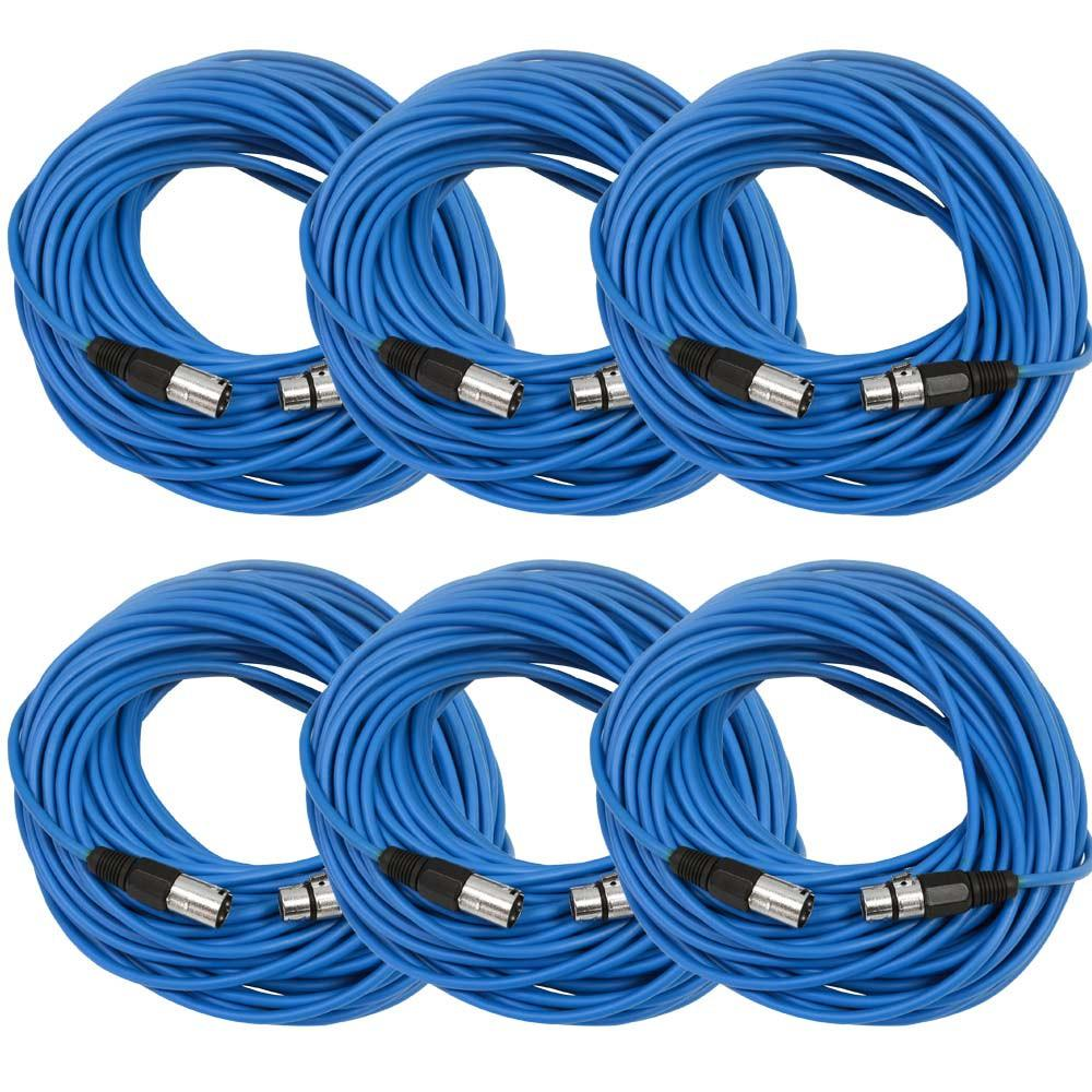 6 pack xlr microphone cable 100 foot xlr cable male xlr to female xlr blue xlr cables. Black Bedroom Furniture Sets. Home Design Ideas