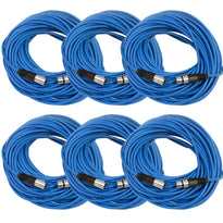 100 Ft XLR Microphone Cables - Blue 6 Pack