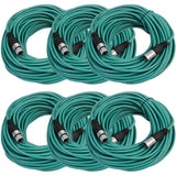 SAXLX-100 - 6 Pack of Green 100 Foot XLR Microphone Cables