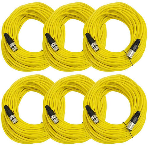 SAXLX-100 - 6 Pack of Yellow 100 Foot XLR Microphone Cables