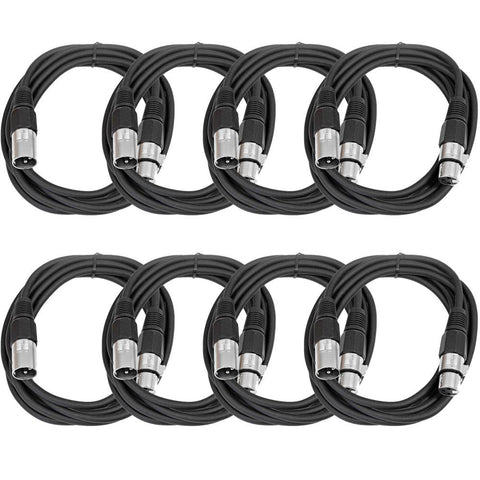 SAXLX-10 - 8 Pack of Black 10 Foot XLR Patch Cables