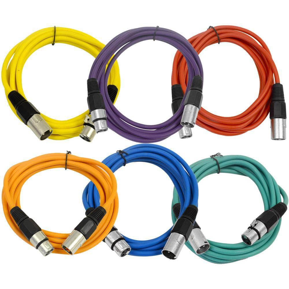 6 pack xlr patch cable 10 foot xlr cable male xlr to female xlr multi colors xlr cables. Black Bedroom Furniture Sets. Home Design Ideas