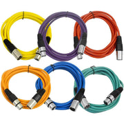 SAXLX-10 - 6 Pack of Multiple Colors 10 Foot XLR Patch Cables