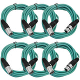 SAXLX-10 - 6 Pack of Green 10 Foot XLR Patch Cables
