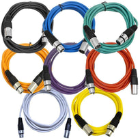 SAXLX-10 - 8 Pack of 10 Foot Multiple Color XLR Patch Cables