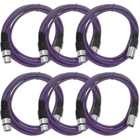 SAXLX-10 - 6 Pack of Purple 10 Foot XLR Patch Cables