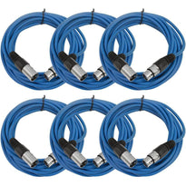 25 Ft XLR Microphone Cables - Blue 6 Pack