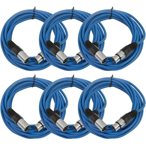 SAXLX-25 - 6 Pack of Blue 25 Foot XLR Microphone Cables